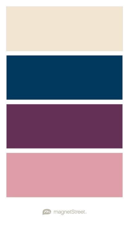 Champagne Navy Eggplant And Blush Wedding Color Palette