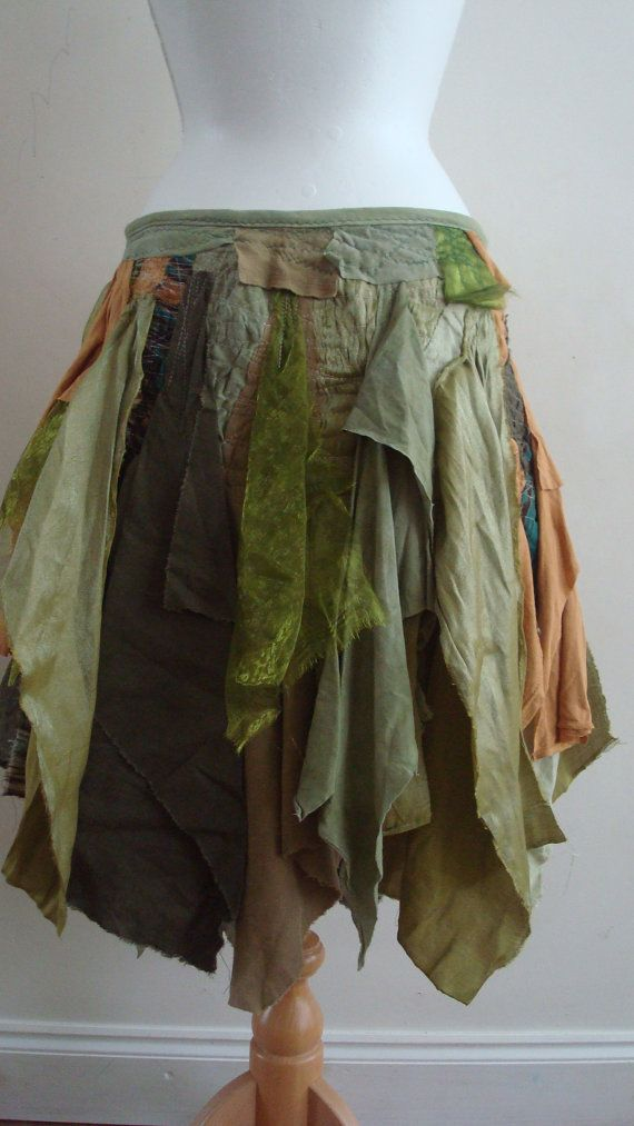 Upcycled Skirt Woman's Clothing Green Brown Tribal Cotton