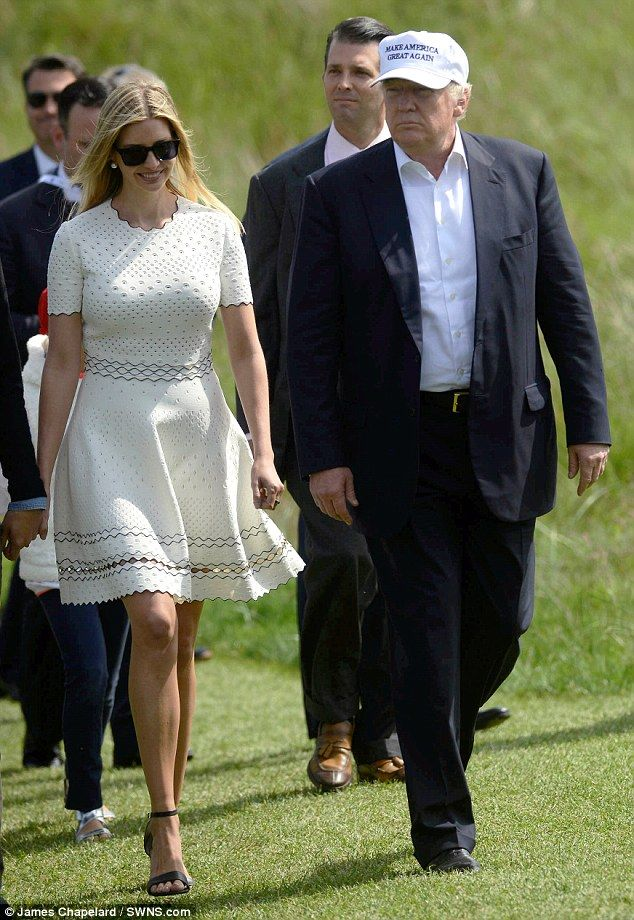 Doting daughter: Ivanka Trump flew to Scotland to stand by her father Donald's side for the reopeningthe Trump Turnberry golf course
