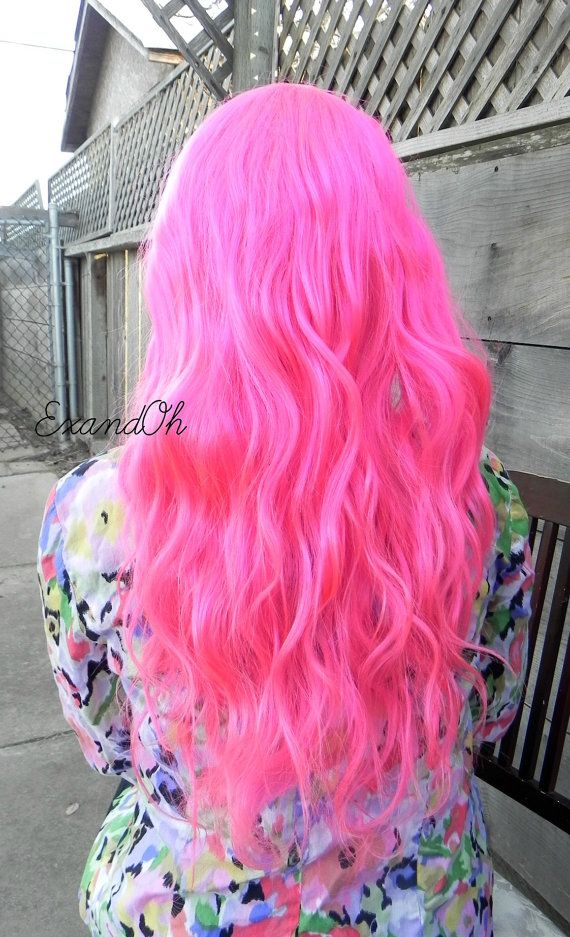 Human Hair Neon Hot Pink / 28 Long Straight Wavy by ExandOh, $720.00