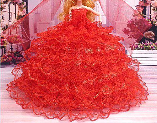 Youvinson Diversi abiti fatti a mano da sposa e vestiti per bambole Barbie (Rosa rossa)