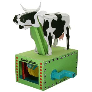 Moving cow papercraft.