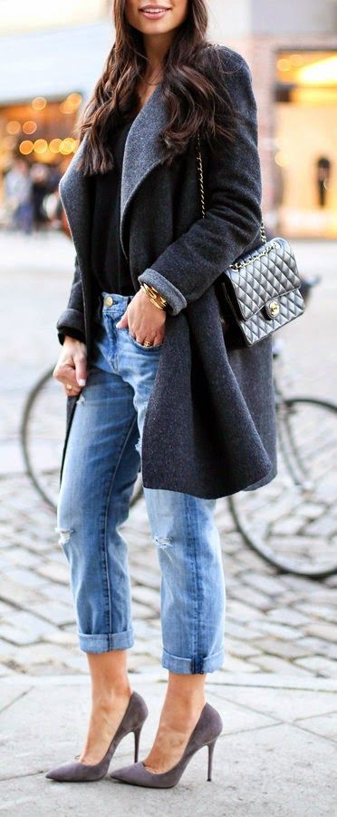 Warm Grey Coat , Boyfriend Rippped Jeans and Pumps...