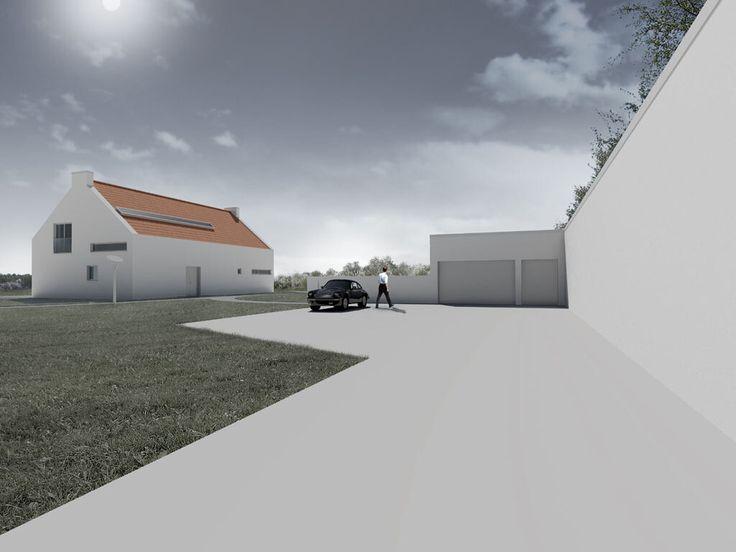 Projekt domu jednorodzinnego pod Warszawą garaż trzystanowisckowy