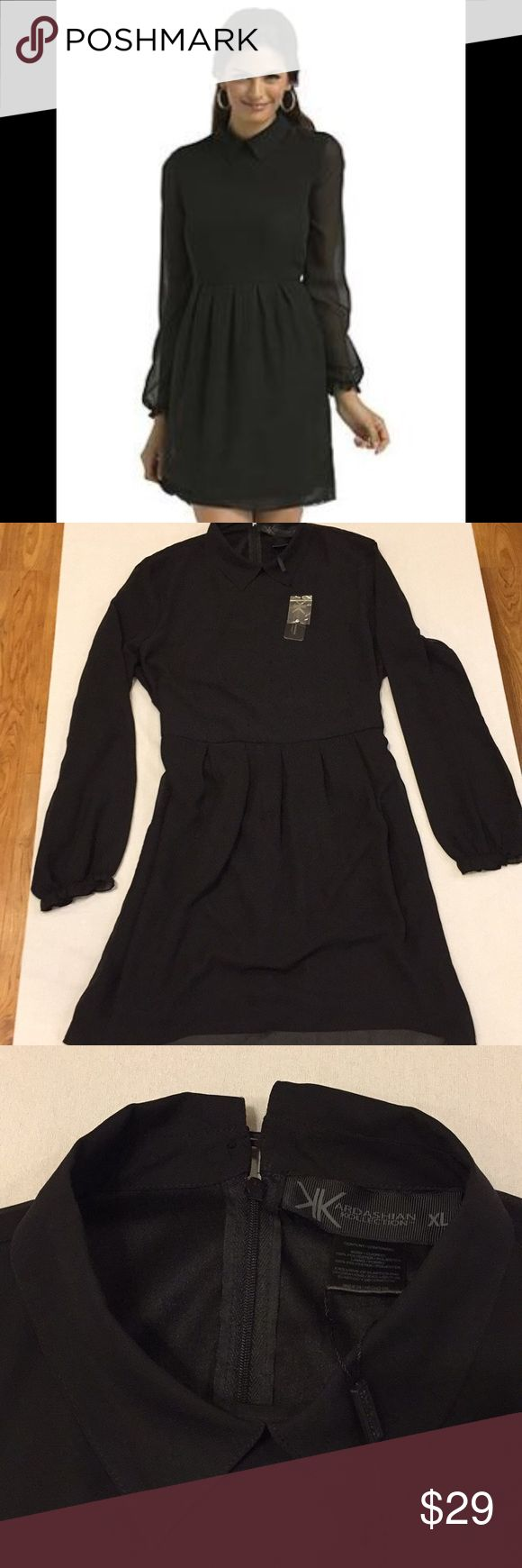 """Kardashian Kollection Black Dress Size XL NWT Super adorable Kardashian Kollection Fall 2013 Collection. Sheer sleeves and high collar makes this a perfect dress for the office or any formal occasion. Size XL measurements: across armpits 22"""", waist 17.5"""", length 37.5"""", across shoulders 17"""" fabric is 100% polyester. Kardashian Kollection Dresses Midi"""