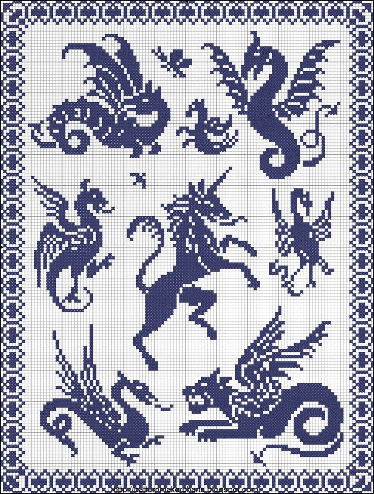 Dragons, wayverns and unicorns. Free Easy Cross, Pattern Maker, PCStitch Charts + Free Historic Old Pattern Books: Easy Cross