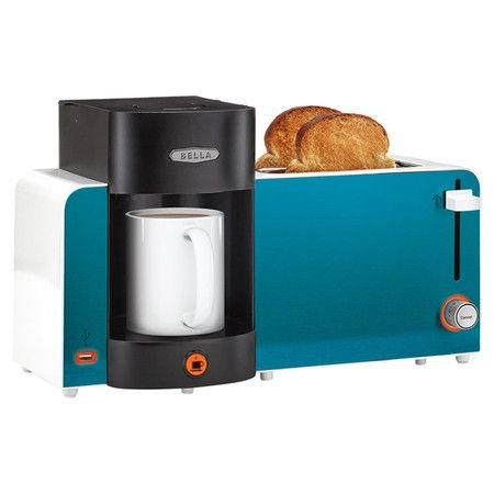 Everything you need for breakfast in one stylish package, this 2-slice toaster and coffee maker combination saves counter space while it brews your morning j...