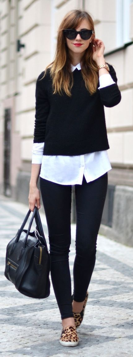 black sweater, white button down, black skinny jeans + leopard sneakers
