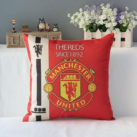 "18"" Square World Cup Football Clubs Pattern Soccer emoji Cotton Linen Cushion Sofa Decorative Throw Pillow Chair Car Home Decor"