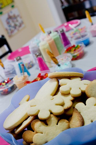 Toddler Cookie Decorating Party- love the squeeze bottles and salt shaker ideas!