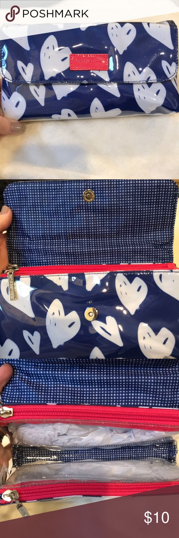 Bath & Body Works Cosmetic Case 🔹NWT 🔹Bath & Body Works plastic cosmetic bag 🔹Fold over snap closure, exterior  🔹Two zipper pouches, interior  🔹Exterior: Royal blue background with white hearts and a pink logo 🔹Interior: Blue and white gingham with clear pouches (pink zippers) 🔹🚭 Bath & Body Works Bags Cosmetic Bags & Cases