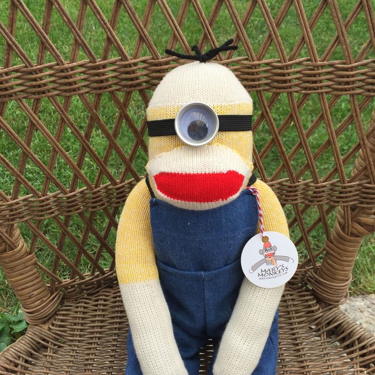 Minion Sock Monkey Doll, Choice of one or two eyes, Minion Plush, Yellow Sock Monkey Doll, Personalized Option by MarysMonkeys on Etsy https://www.etsy.com/listing/248996806/minion-sock-monkey-doll-choice-of-one-or