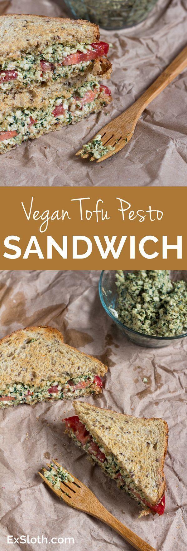 Vegan Tofu Pesto Sandwich via /ExSloth/ | http://ExSloth.com