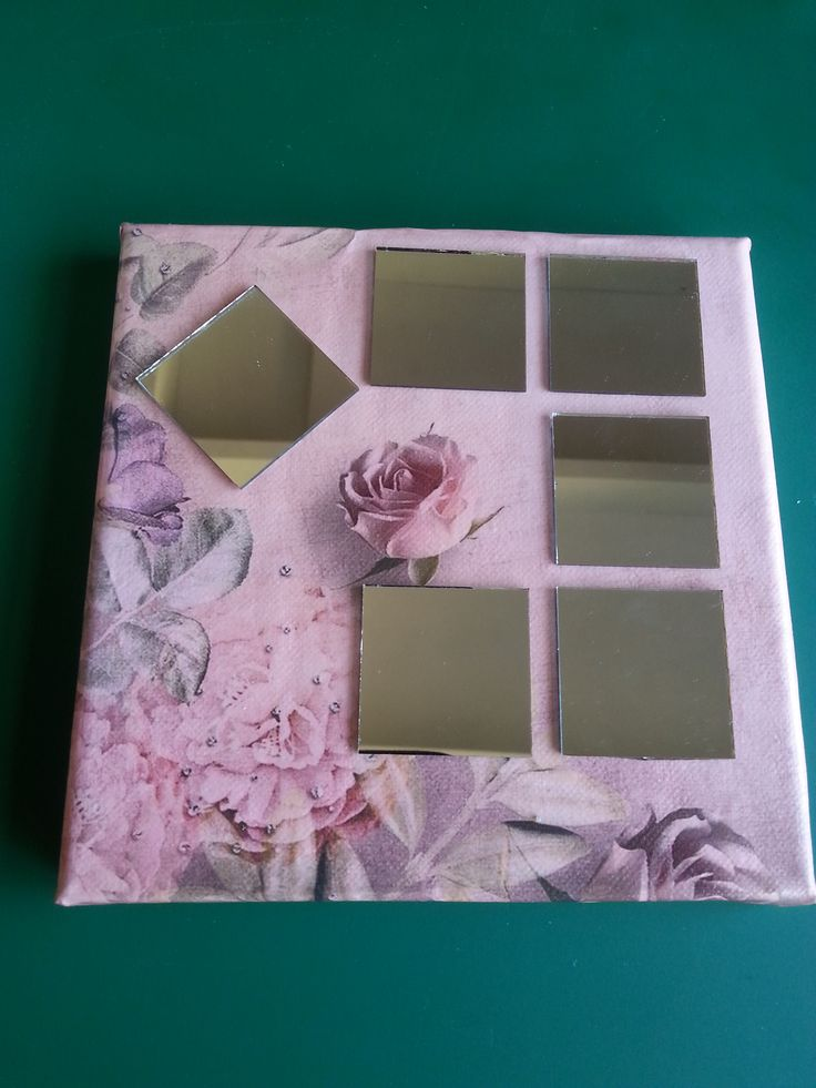 decoupage and small mirror squares on canvas