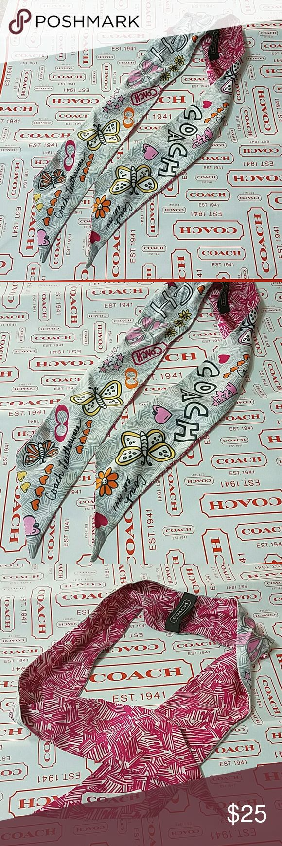 """Coach Poppy Butterfly Scarf Colors Hearts Flowers Great accessory to tie on your purse or use as a ponytail scarf for your hair! :) Coach Style # F97178 Coach Poppy Butterfly Scarf Multi Colors Condition: Pre-owned, gently used Colors: Multi Colors Butterfly & Hearts & Flowers Size: 33"""" x 2.5"""" Great for a pony tail scarf  Will ship within 24 hours. From a Smoke-Free & Pet-Free home. Thanks for looking! No trades, please Coach Accessories Key & Card Holders"""