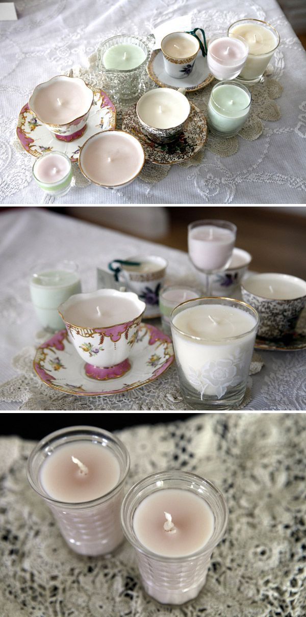 How to make soy candles out of teacups etc.   so cute! i am doing this!
