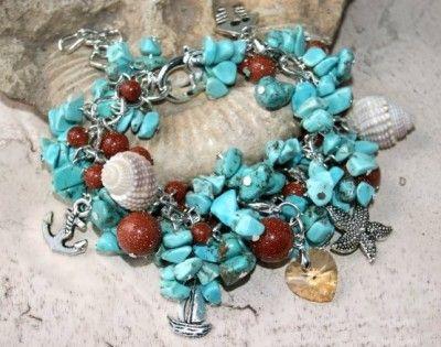 Bransoletka Charms Skarby Ziemi i Swarovski: Turkus i Piasek Pustyni. #bransoletka #bracelet #charms #swarovski #turkus #jewelry #bizuteria