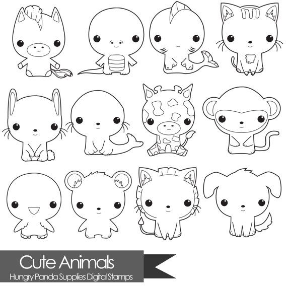 Animal digital stamp, cute animals digital stamps, commercial use, digital stamps, line art
