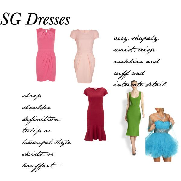 """SG Dresses"" by adhp on Polyvore - Except the blue bouffant is something I could never do!  The other skirt shapes, tulips, flaring at the knee, pencil that is very narrow at the knee and following the body line...all are very good.  ( No skater skirts, pleating/puffing at the waist, hems much above the knee for me.)"