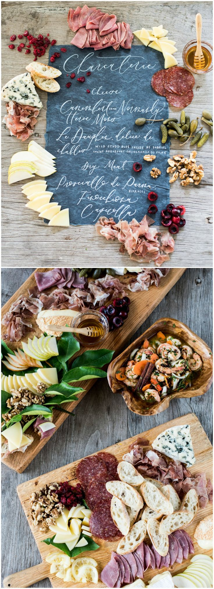 Meat and cheese board, wood planks, slices of bread, honey, charcuterie, nuts, dried cranberries, wedding food ideas, appetizer // Marni Rothschild Pictures