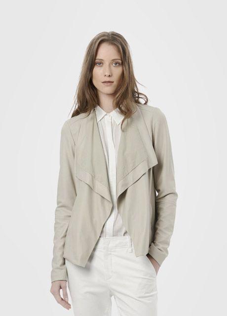 Drape Neck Leather Jacket