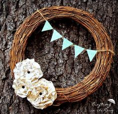 simple wreath with sheet music paper flowers