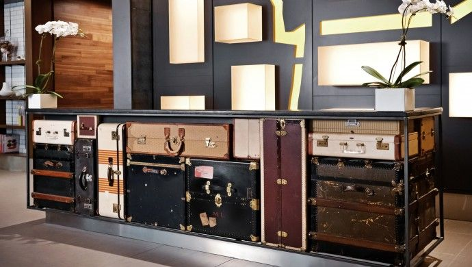 MileNorth Hotel: MileNorth Hotel has funky design touches like this front desk made of vintage suitcases.