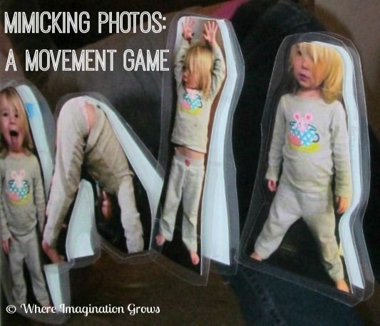 A fun movement game for toddlers and preschoolers! Mimicking personalized photo actions with a mirror!