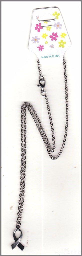 Ribbon Charm on Gunmetal Grey Chain Necklace by MadAboutIncense - $10.50