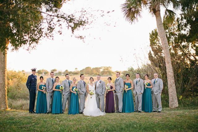 Purple & aqua wedding party, photo by Brooke Images