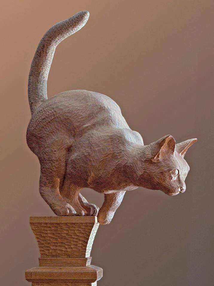 Carved cat. Sculptor/Artist Jack Burgess from Ketchum, Idaho (Sun Valley)