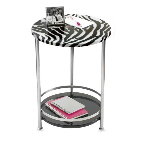 Round Side Table With Bottom Storage Shelf Zebra Bed