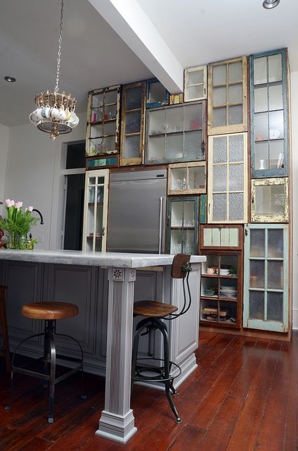 Cabinet fronts from salvaged windows and doors. pantry commission 3/12 by Matthew Holdren, via Flickr