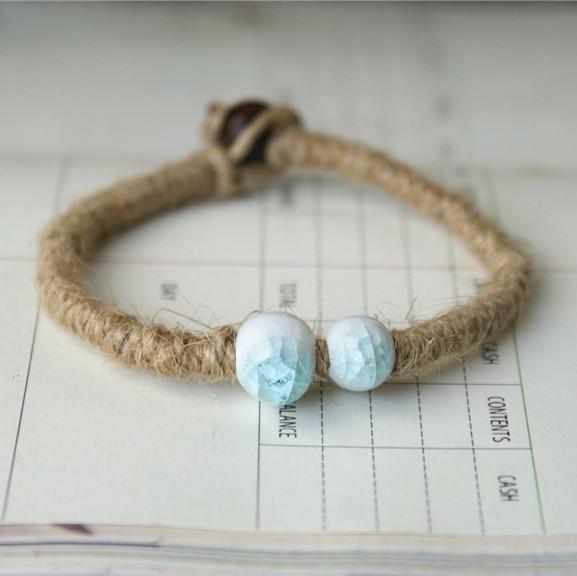 Blue Peony Rope Bracelet