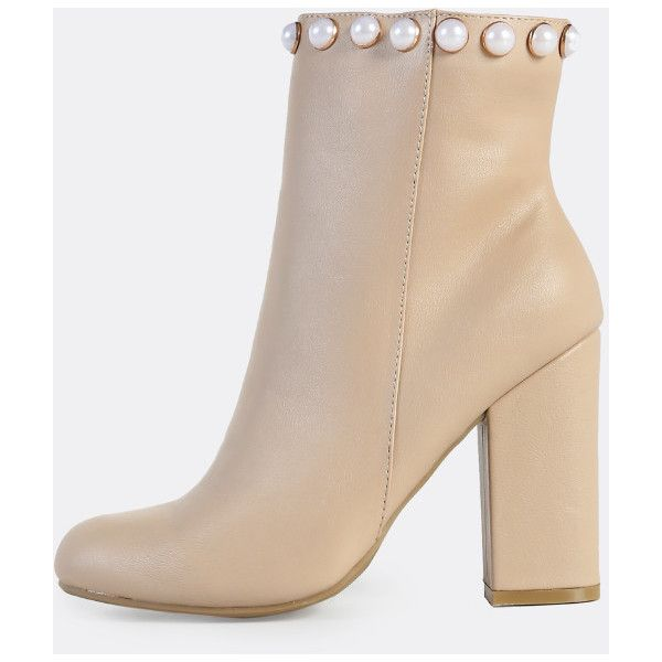 Pearl Accent Zip Up Booties NUDE ($41) ❤ liked on Polyvore featuring shoes, boots, ankle booties, nude, zip up booties, nude boots and zip up boots