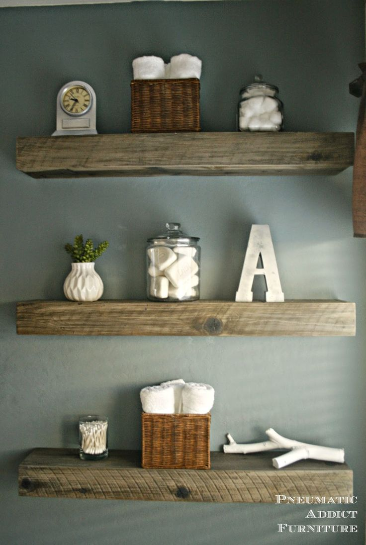 How To Create a Weathered Barnwood Look With This Inexpensive Substitute.  Shelves For BathroomBathroom IdeasBathroom WallReclaimed Wood ... - 25+ Best Ideas About Reclaimed Wood Floating Shelves On Pinterest