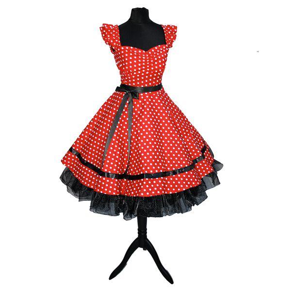 Petticoatkleid rot Punkte 50er Jahre von Rockabillymode 50er Jahre Petticoatkleider Brautkleider auf DaWanda.com