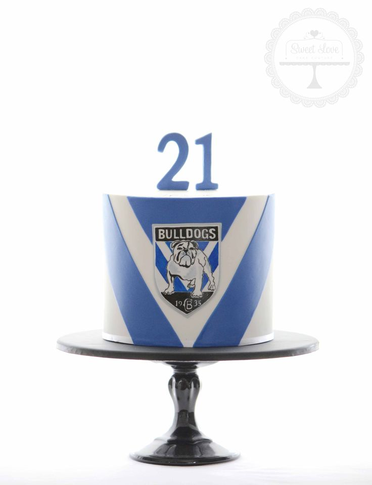 Footy cake for the boys - with hand painted Canterbury Bulldogs logo