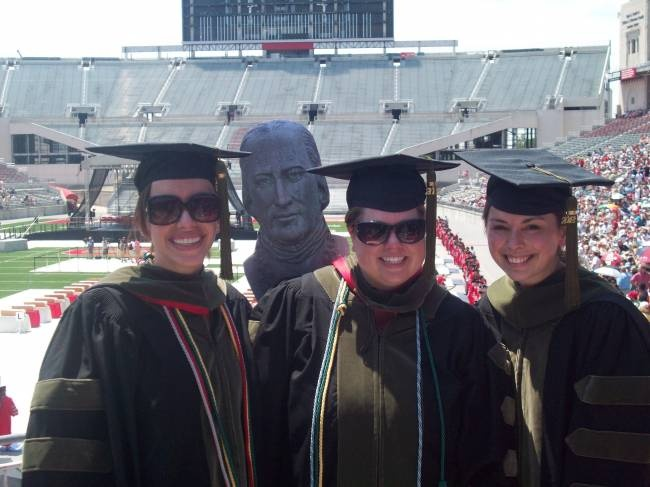 Jessica Pritt '06, Brigid Long '06, and Katherine Conry '08 graduated from The Ohio State University with their PharmD on June 10, 2012. The ceremony was held in the stadium.