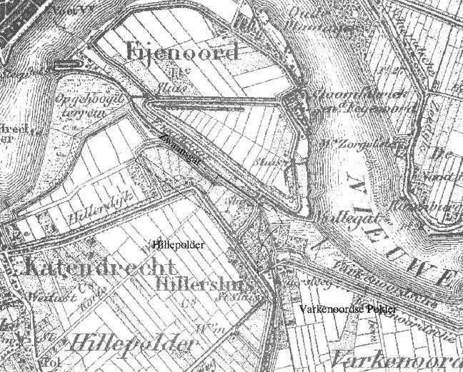 Gebied Polderplein rond 1850 In de wijk Hillesluis vindt u dit plein dat ligt ingesloten tussen de Polderlaan, Polderstraat, Zuidpolderstraat en Noordpolderstaart. Het plein heette van 1920 tot 1977 trouwens de Oost-Polderstraat en al deze straten ontlenen hun naam aan de voormalige Hillepolder. Deze polder, waarvan de grondverkaveling op 23 augustus 1529 plaats vond, was 240 morgen groot en werd aan de Maaszijde beschermd door de Brede Hilledijk.