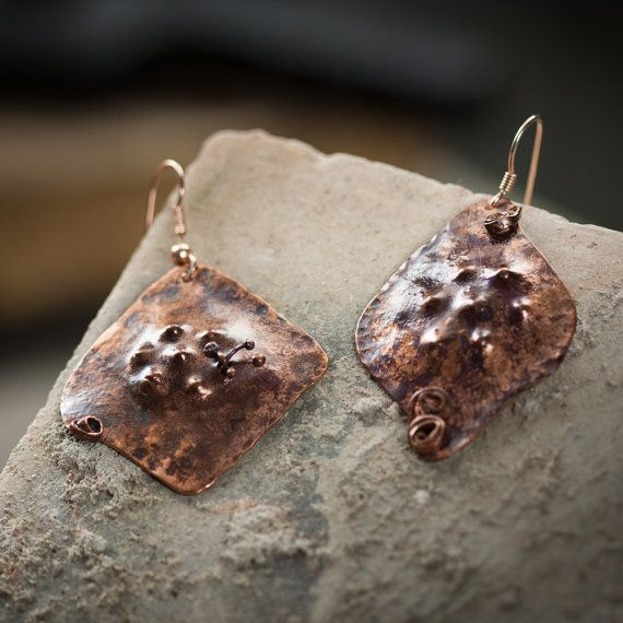 Handcrafted unusual earrings pair, totally handmade.    In hand hammered copper, oxidized with forced oxidation and vitrified.