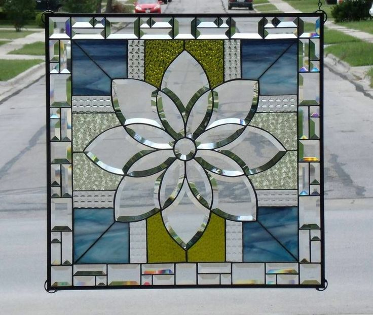 • Summer Day's •XL Stained Beveled Glass Window Panel • Signed Numbered | eBay