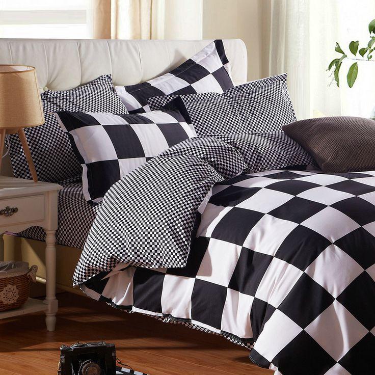 Strisce reticolo di stile della stella nero bianco biancheria da letto king size griglia lenzuolo set copripiumino lenzuolo federa bedclo(China (Mainland))