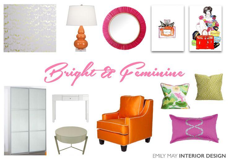 Pink and orange, bright and feminine bedroom design
