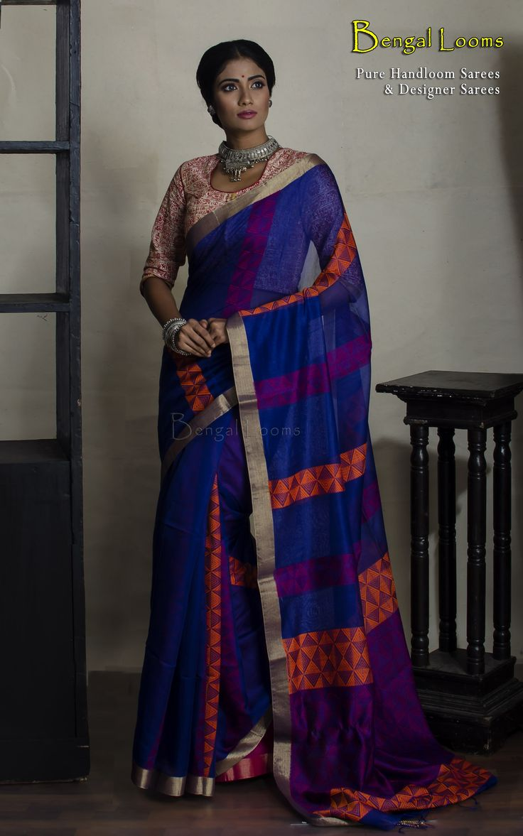 Pure Handloom Soft Cotton Khadi Saree in royal blue , purple and orange color combination.