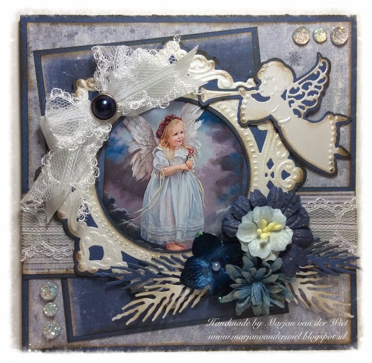 Card made by DT member Marjan with Creatables Petra's Circle & Crown (LR0317) and Craftables Herald Angel (CR1295) by Marianne Design