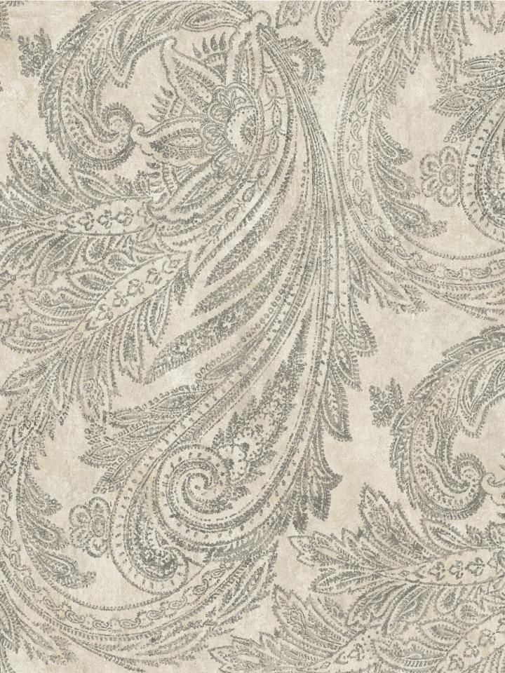 Weathered Paisley Wallpaper | Sapphire Oasis | AmericanBlinds.com #grey