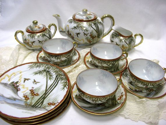 Kutani Hand Painted Craftsman China Tea Set for by AntiqueAllice, $98.00