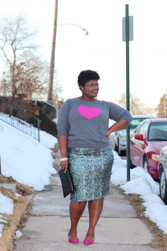 Love how she matched the heart print with the shoes! And of course the sequined skirt.