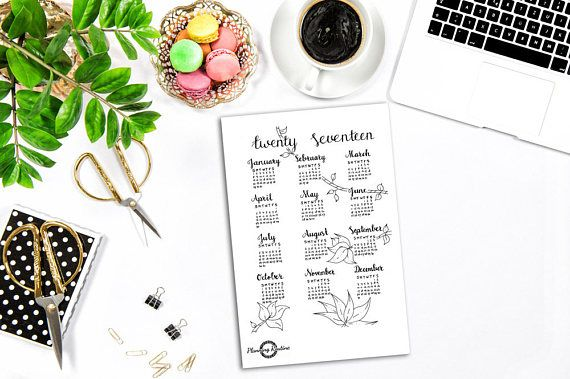 Year at a glance, Calendar, Full Year,  Bullet Journal Stickers, Planner Stickers, Monthly Calendar